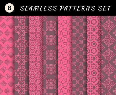 Romantic and love seamless patterns set. Valentine's Day geometric heart textures. Abstract sweet backgrounds. backdrop mobile smart phone tablet desktop wallpaper banner web design element stock vector