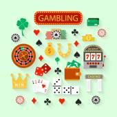 Hazardní ploché ikony nastavit