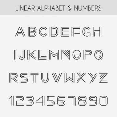 Alphabet with thin lines