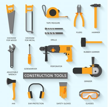 Construction tools vector illustration icons set stock vector
