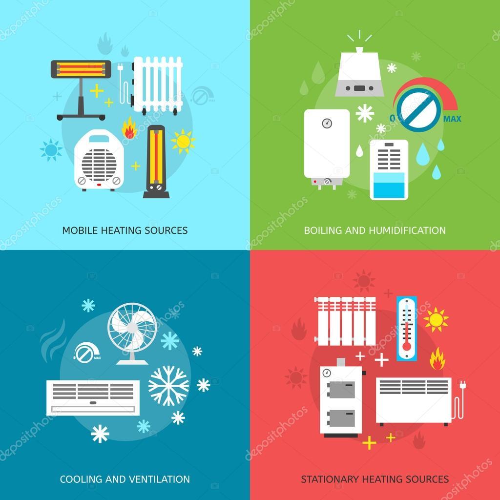 Heizungs-Lüftungs- und Klimaanlagen — Stockvektor © OlhaKostiuk ...
