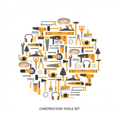 Construction tools vector icons set. Hand equipment collection in flat style. stock vector