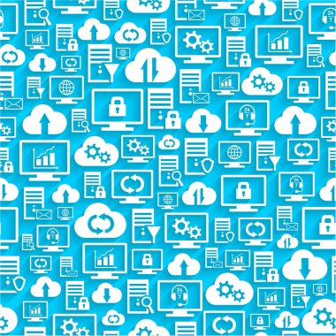 Seamless pattern with computing icons