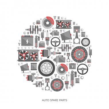 Set of auto spare parts