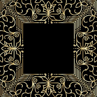 Linear simple frame with gold lines