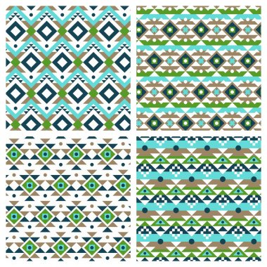 ethnic aztec mexican seamless patterns