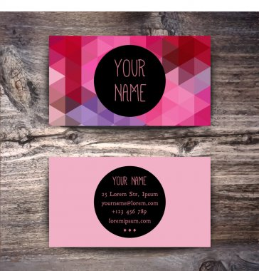 Business card template with geometric pattern