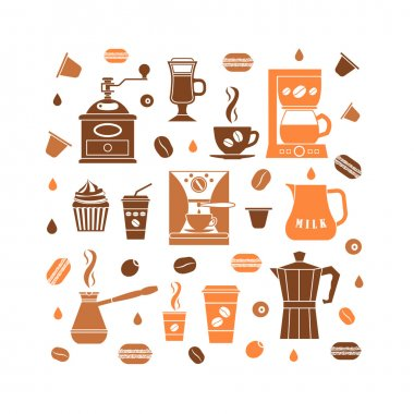 Coffee icons set in minimalistic style
