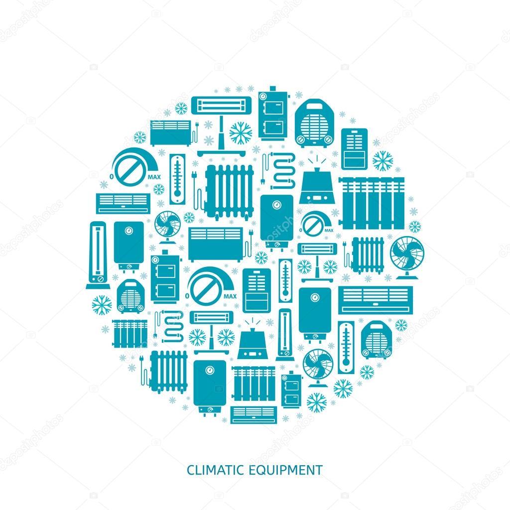 Heizungs-Lüftungs- und Klimaanlagen Symbole — Stockvektor ...