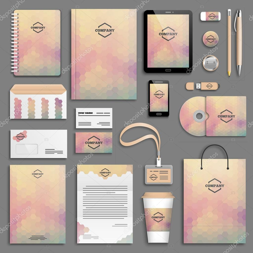 Corporate identity template set. Business stationery mock-up with logo. Branding design. Letter envelope, card, catalog, pen, pencil, badge, paper cup, notebook, tablet pc, mobile phone, letterhead clipart vector