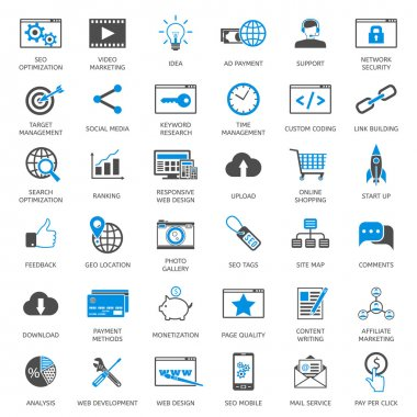 SEO optimization icons, web development, internet marketing, web design, tags, target strategy, analysis stock vector