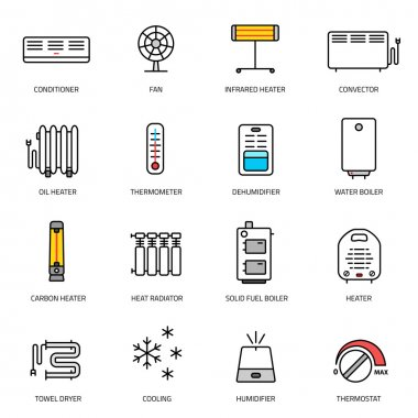 conditioning linear icons set.