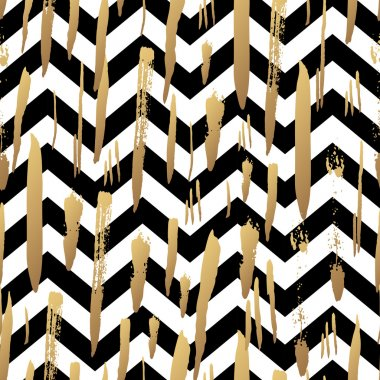 Striped background with gold brush strokes