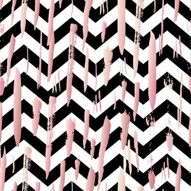 Striped background with rose brush strokes