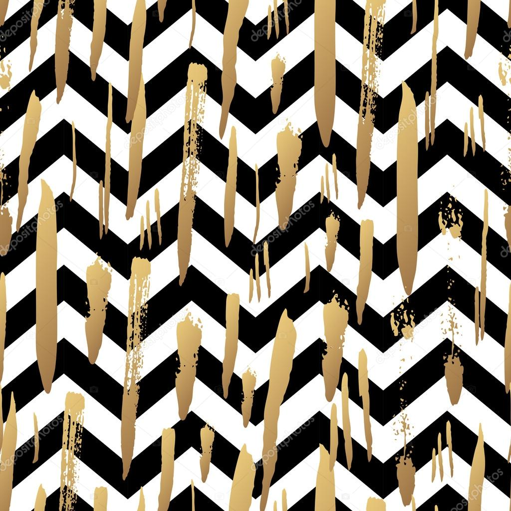 striped background with gold brush strokes stock vector