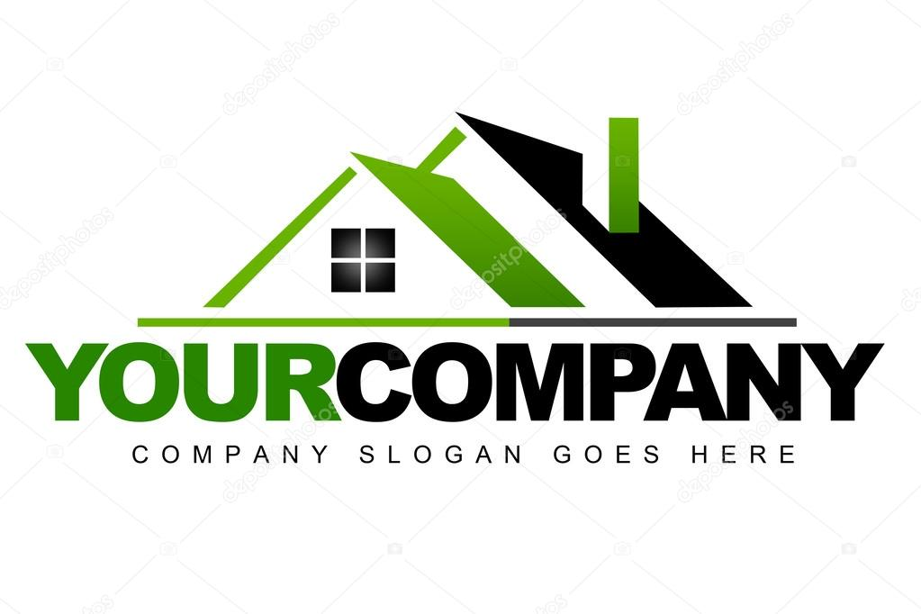 An illustration of a real estate logo representing a green roof of a house. stock vector