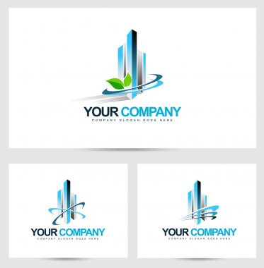 Corporate Building Logo. Vector Design for Real Estate Company.Skyscraper logo. stock vector