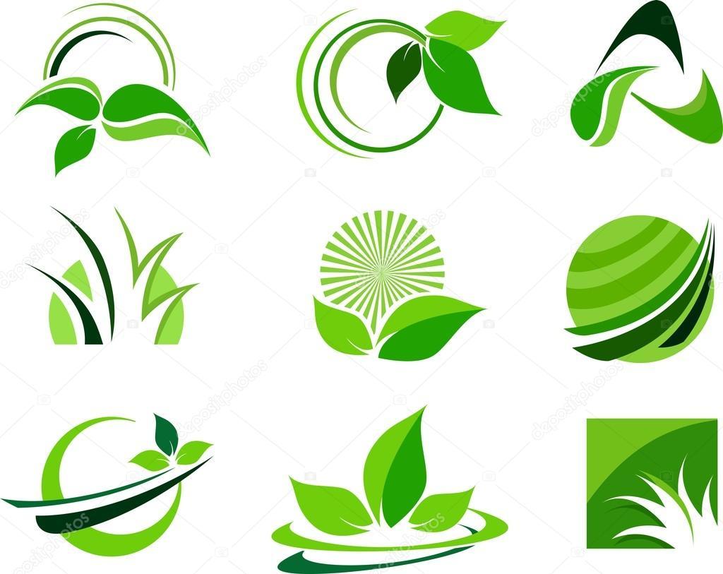 Green Leafs Design Elements