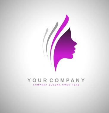 Beauty Female Face Logo Design.Cosmetic salon logo design. Creative Woman Face Vector. Hair Salon Logo. clip art vector