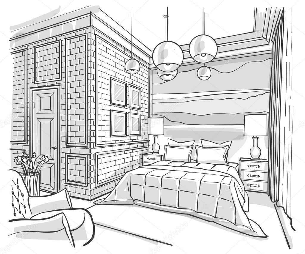 Bedroom Interior Outline Vector Sketch Drawing