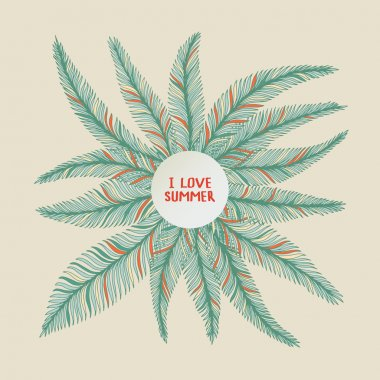 Hand drawn palm leaves.