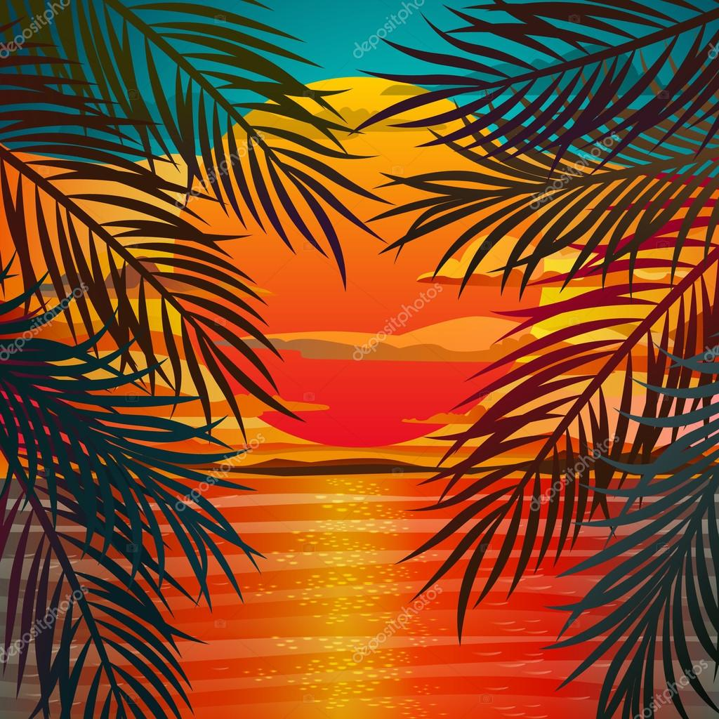 Beautiful Beach Sunset Landscape With Palm Leaves Romantic Flat Design Vector Illustration By VectorStory