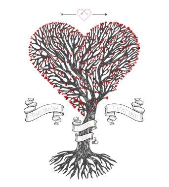 Tree crown like heart with leafs