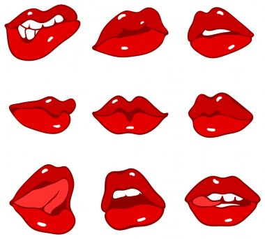 Set of red lips. Vector illustration stock vector