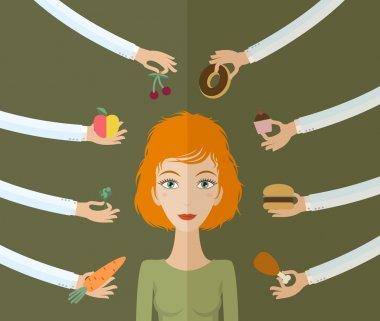 Hands offers women food