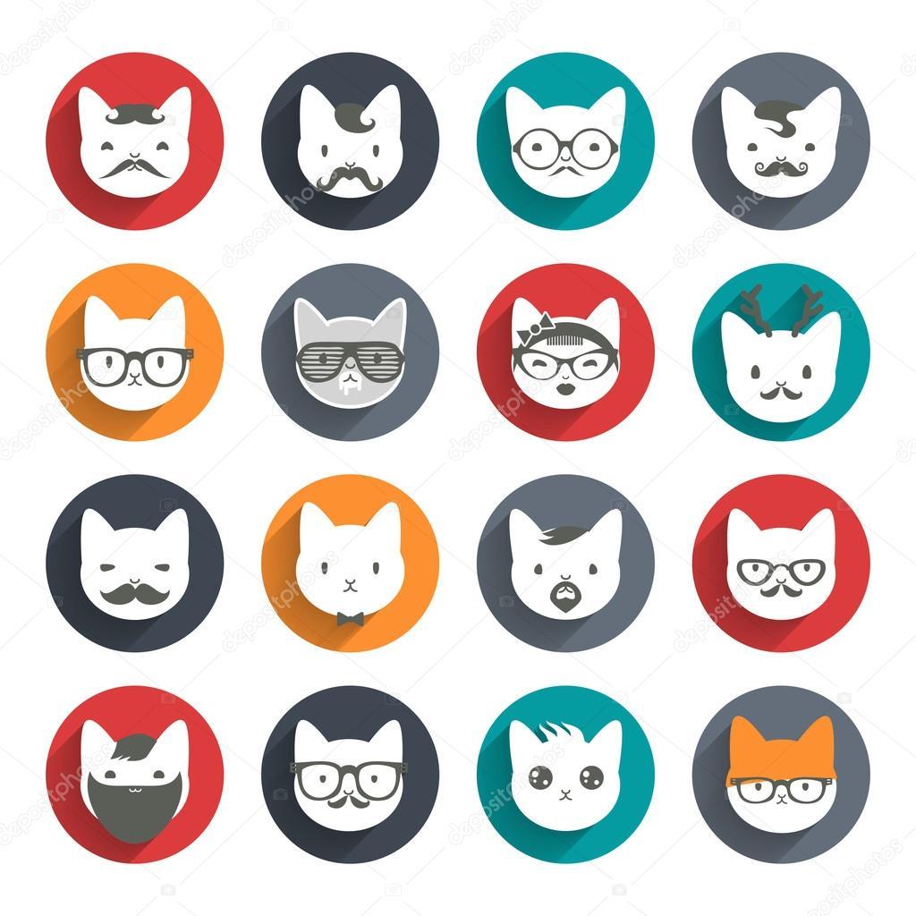 Stylized animal avatar set