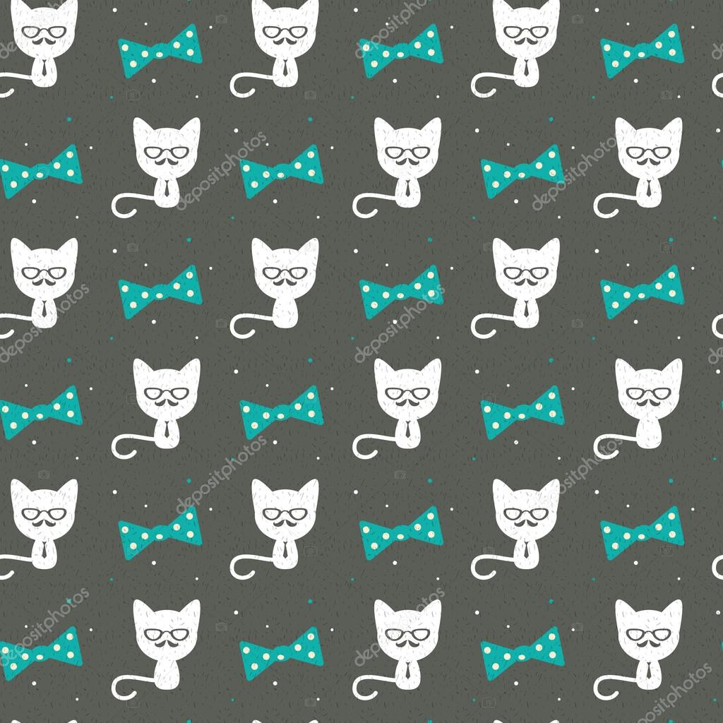 Hipster Cat Background Vector By VectorStory