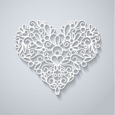 Swirly paper heart with shadow on white, vector illustration stock vector
