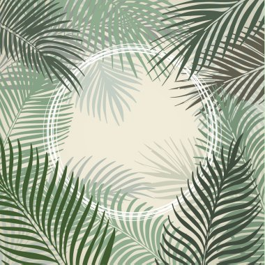 Hand drawn frame of palm leaves