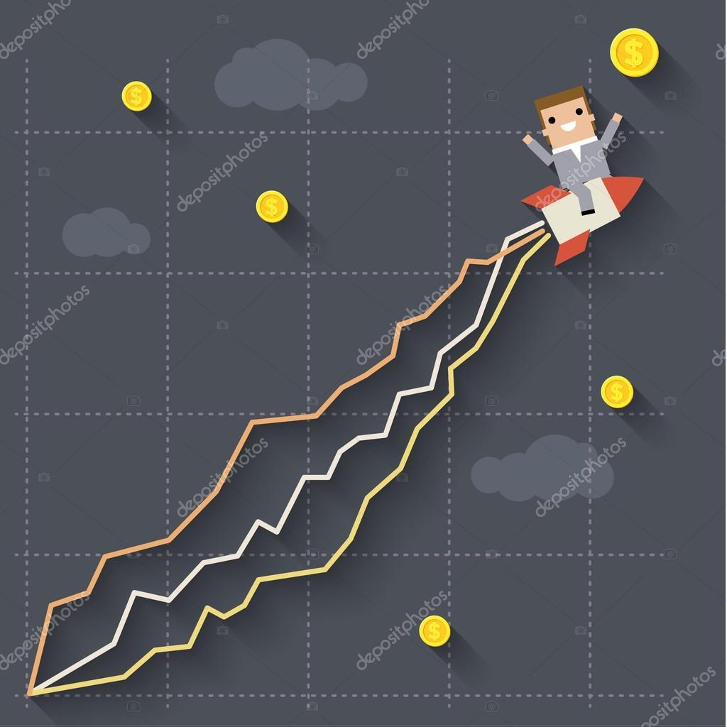 Businessman on rocket. Concept of success