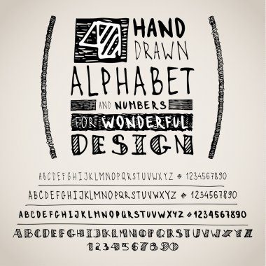 Hand drawn four fonts on white