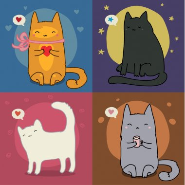 Vector Set Of Different Adorable Cartoon Cats stock vector