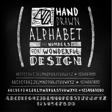 Hand drawn four fonts on blackboard