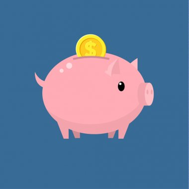 Piggy bank Flat design