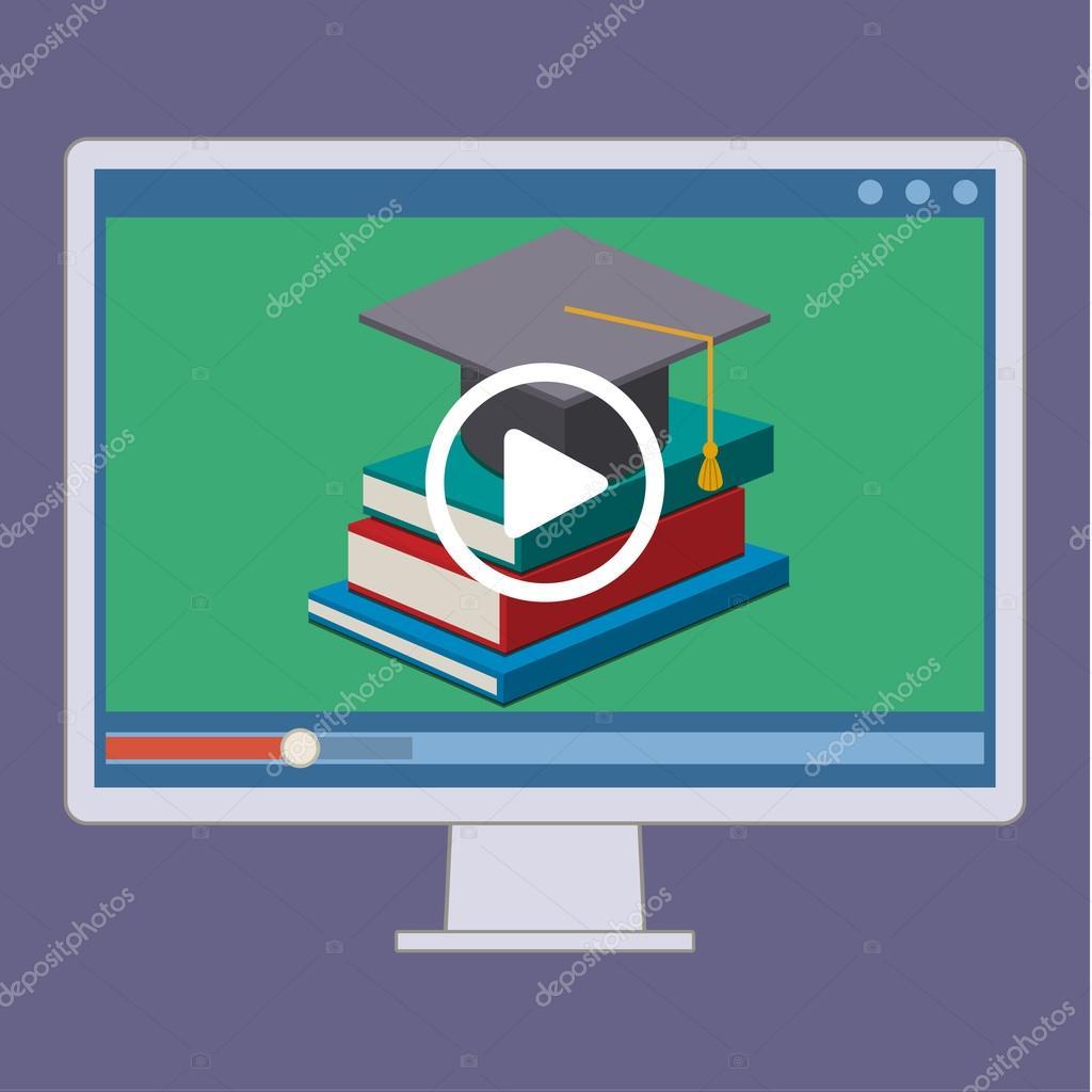 Online education  in flat style
