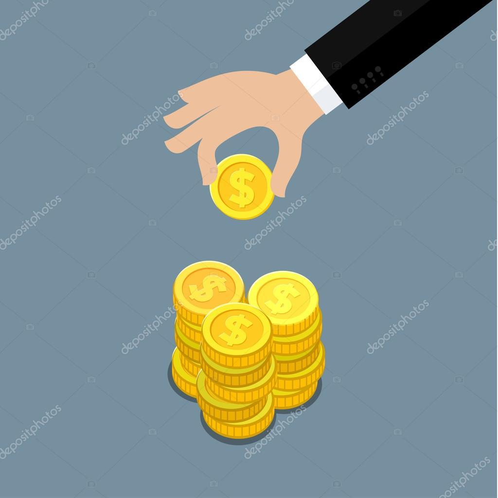 Hand of businessman giving money