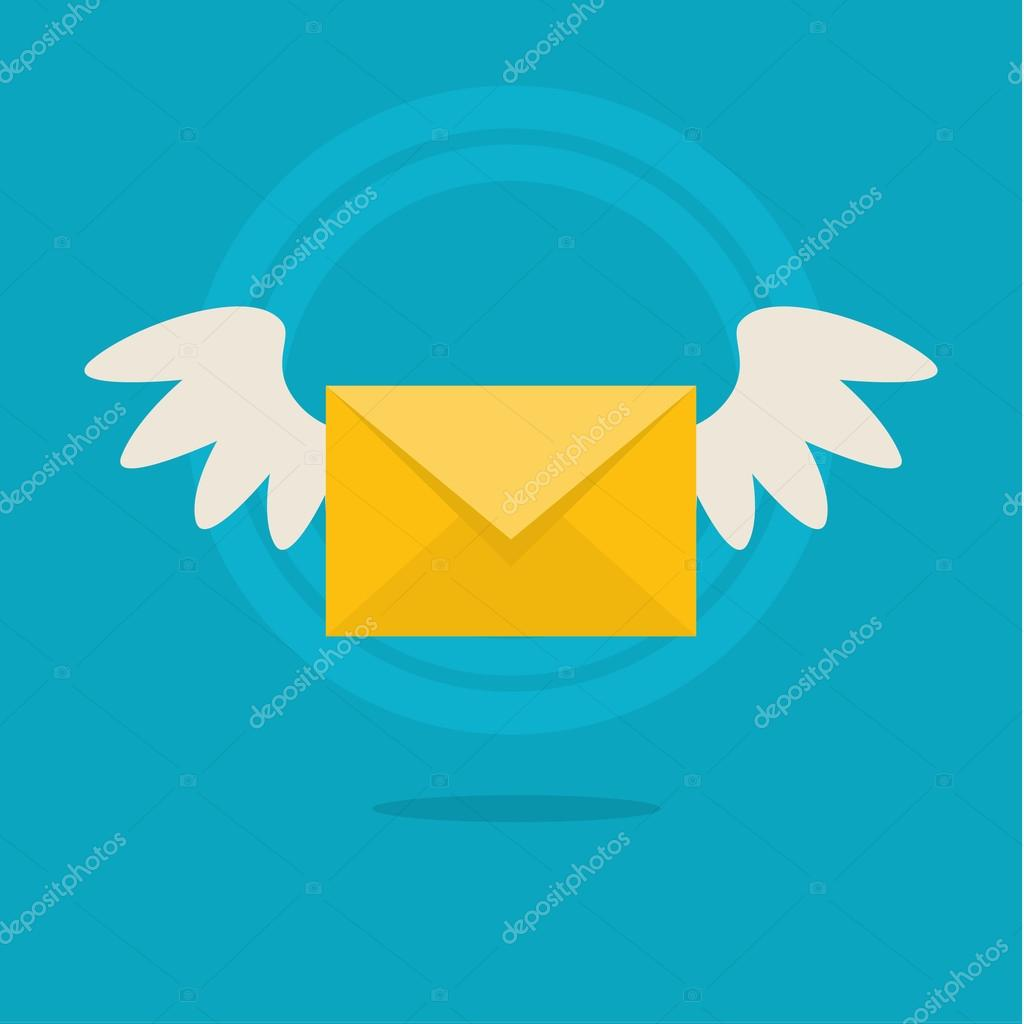 Flat colorful icon with fly letter