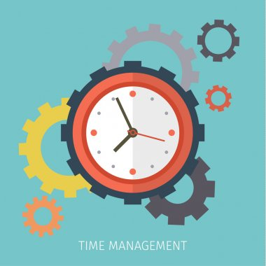 Flat design vector business illustration. Concept of effective time management. stock vector