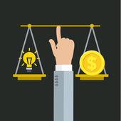 Fotografie Vyrovnání mezi penězi a nápad