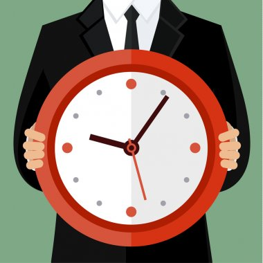 Portrait of a businessman holding a watch. Concept of time management stock vector
