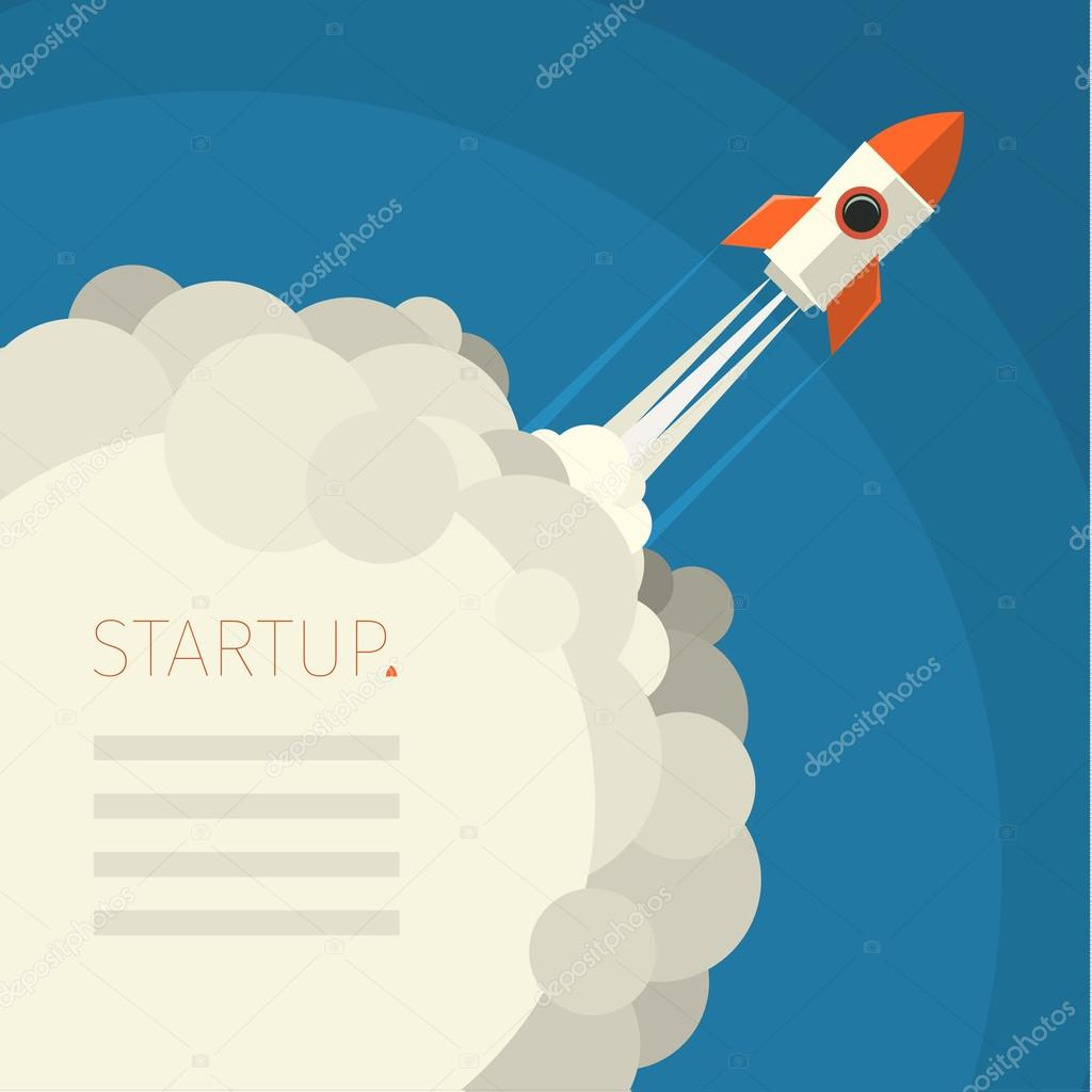 Concept of start up rocket on blue