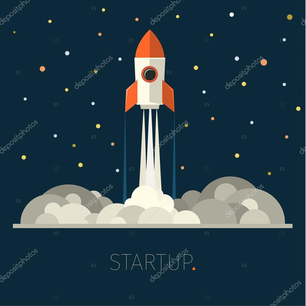 Concept of start up rocket in sky