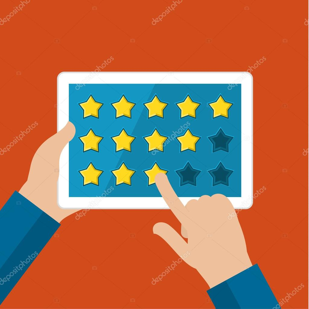 Concept of rating. Hands holding tablet