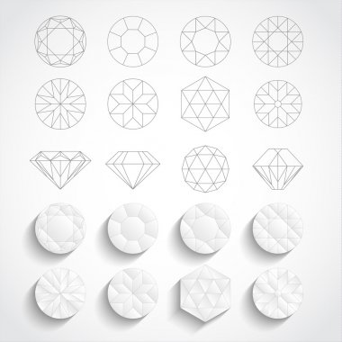 Set of diamond design elements