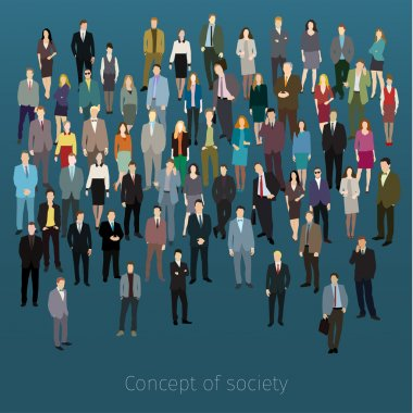 Urban lifestyle concept. A large group of people. Flat design. Vector background clip art vector