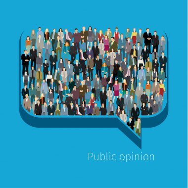 A large group of people in shape of chat bubble. Flat design vector illustration clip art vector